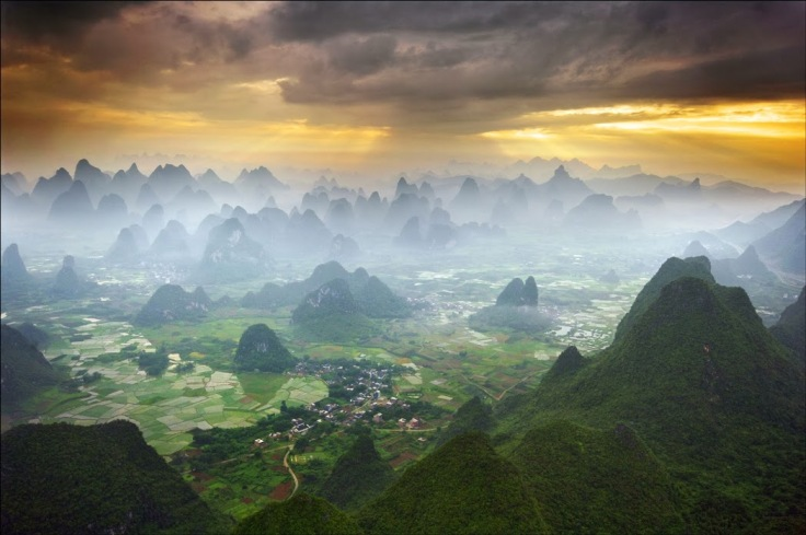 The beauty of Yangshuo, China, as seen from a hot air balloon